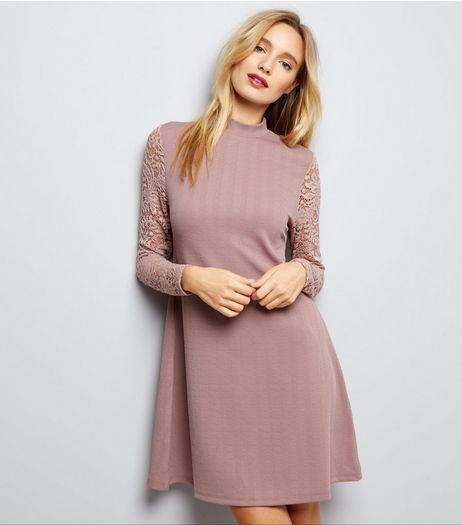 Shell Pink Funnel Neck Lace Sleeve Swing Dress | New Look