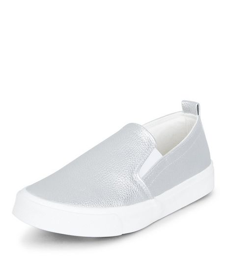 Teens Silver Metallic Slip On Trainers | New Look