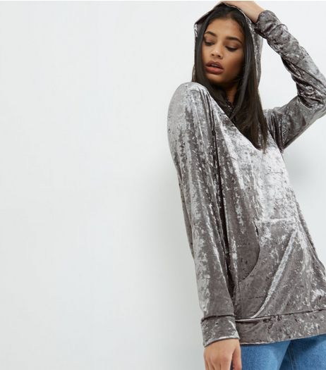 Grey Velvet Oversized Hoodie | New Look