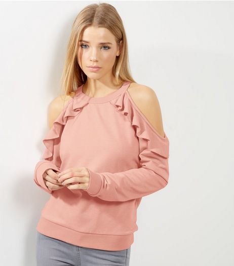 Shell Pink Frill Trim Cold Shoulder Sweater | New Look