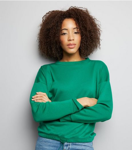 Green Long Sleeve Drawstring Hem Sweater  | New Look