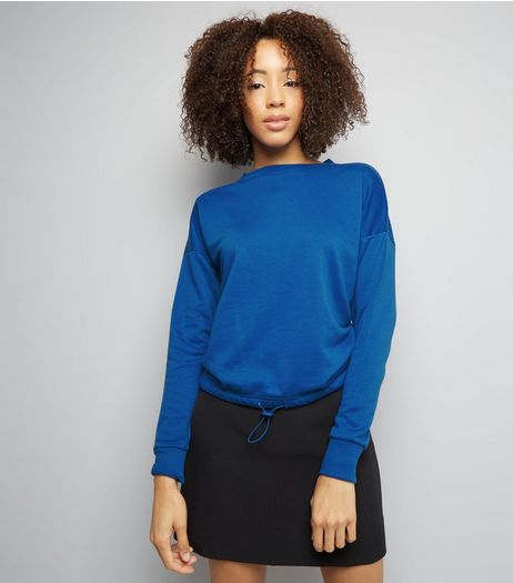 Blue Long Sleeve Drawstring Hem Sweater | New Look