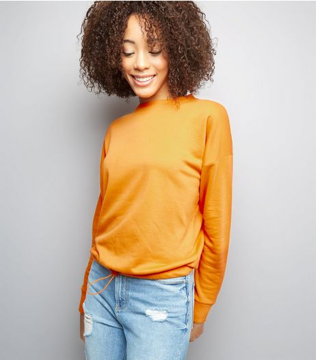 Orange Long Sleeve Drawstring Hem Sweater  | New Look