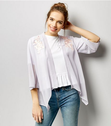 Pale Grey Chiffon Floral Badge Kimono | New Look