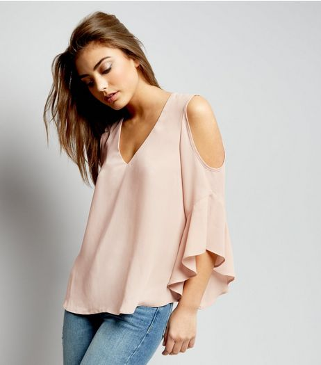 Shell Pink Cold Shoulder Frill Trim Top  | New Look