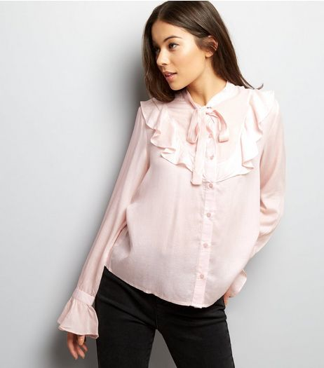 Shell Pink Tie Neck Frill Trim Shirt | New Look