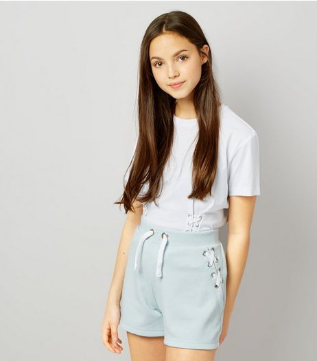Teens Blue Eyelet Trim Tie Side Shorts | New Look