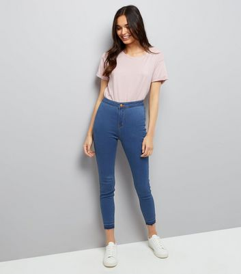 Blue High Waist Super Skinny Drop Hem Hallie Jeans