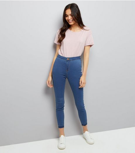 Blue High Waist Super Skinny Drop Hem Hallie Jeans | New Look