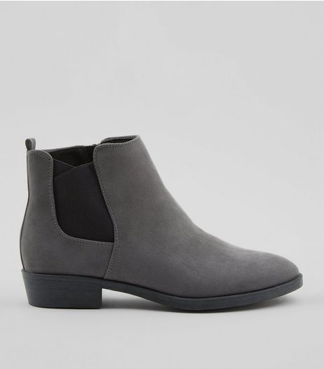 Grey Suedette Low Heel Chelsea Boots | New Look