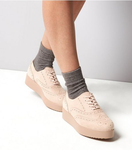 Pink Brogue Platform Trainers  | New Look