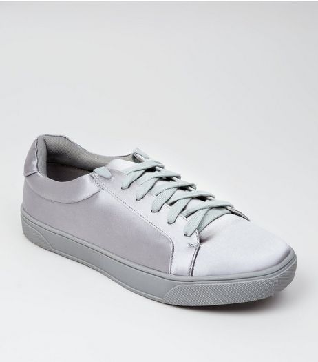 Grey Satin Lace Up Trainers | New Look