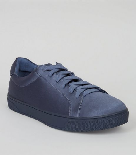 Blue Satin Lace Up Trainers | New Look