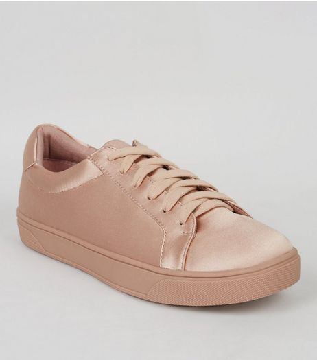 Pink Satin Lace Up Trainers | New Look