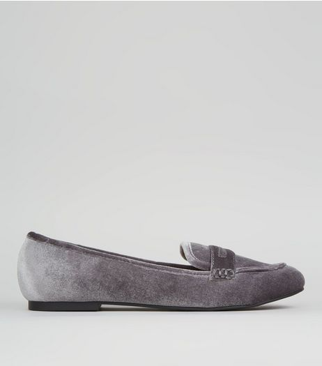 Grey Velvet Loafers | New Look