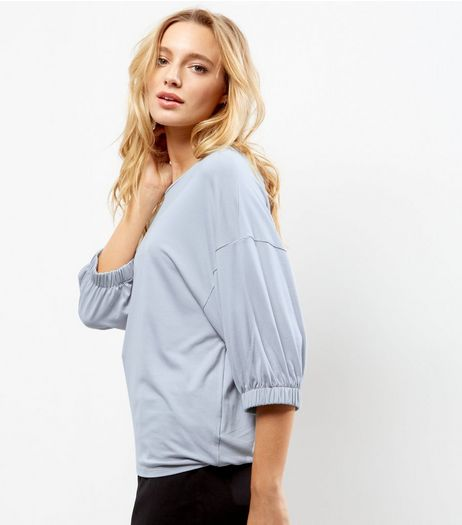 Pale Grey Crepe Elastic Sleeve Top  | New Look