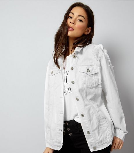 White Ripped Denim Jacket | New Look
