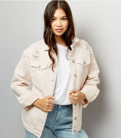 Shell Pink Ripped Denim Jacket | New Look