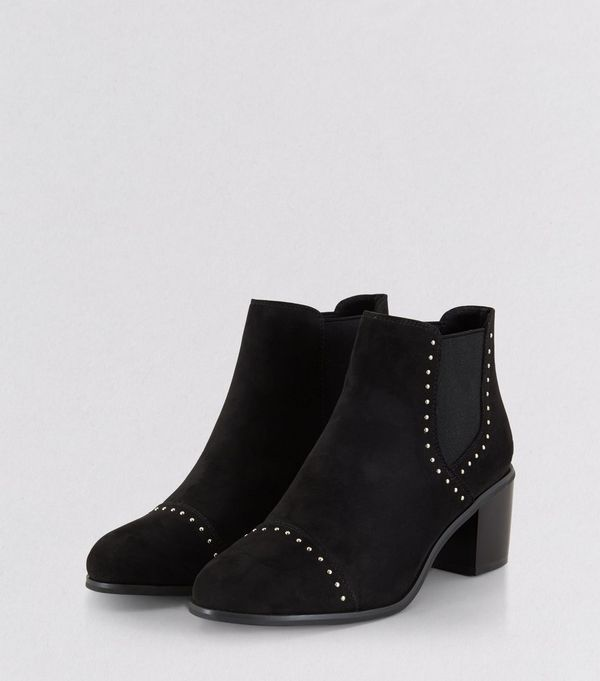 Black Suedette Stud Trim Heeled Boots