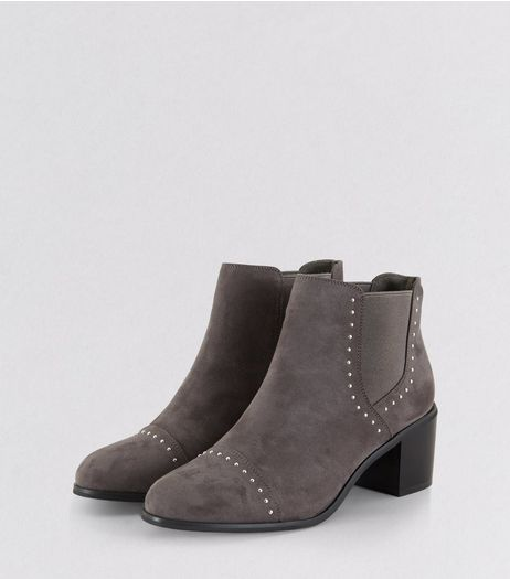 Grey Stud Trim Heeled Boots  | New Look