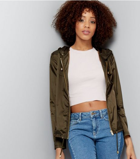 Khaki Zip Front Fold Away Anorak | New Look