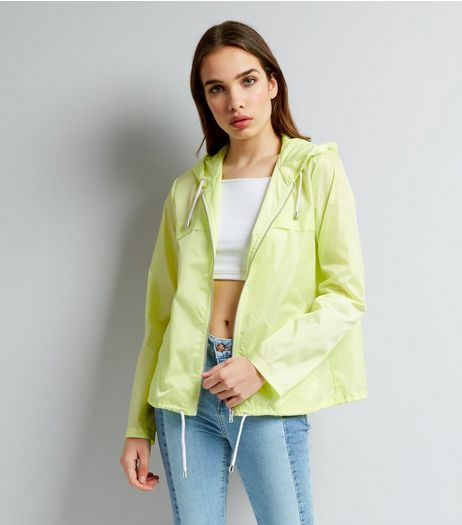 Yellow Hooded Fold Away Anorak  | New Look