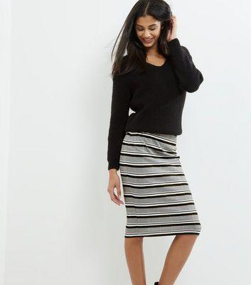 Grey Stripe Bandage Midi Skirt