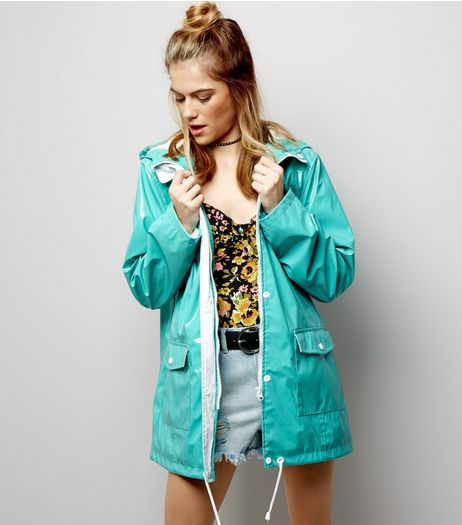 Green Patent Hooded Anorak  | New Look