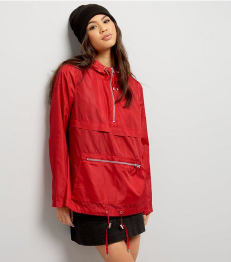 Red Pull-Over Fold Away Anorak  | New Look