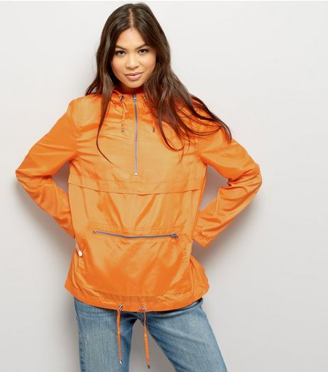 Bright Orange Pull-Over Fold Away Anorak | New Look