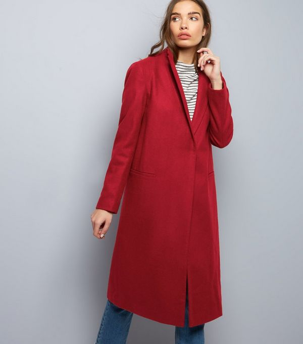 Dark Red Midi Coat