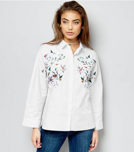 Cream Cotton Floral Embroidered Shirt | New Look