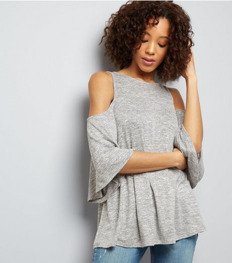 Pale Grey Fine Knit Flared Sleeve Cold Shoulder Top | New Look