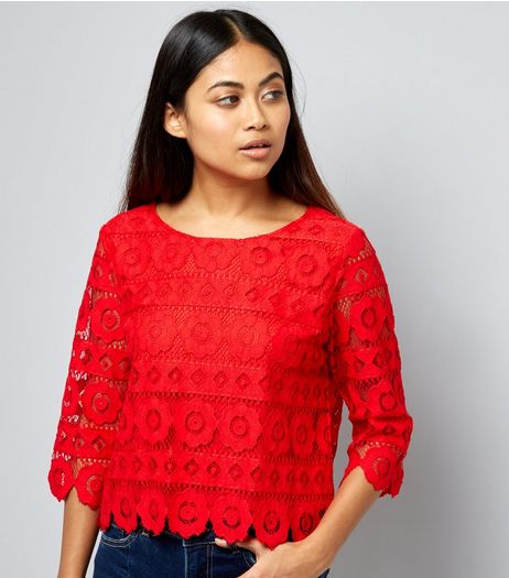 Petite Red Floral Lace Half Sleeve Top | New Look