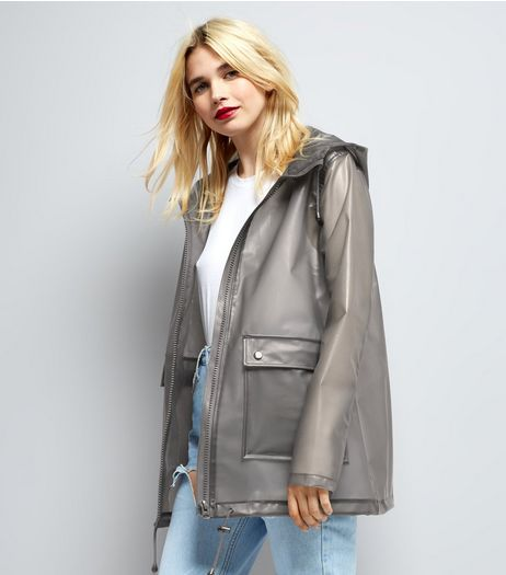 Grey Transparent Anorak  | New Look