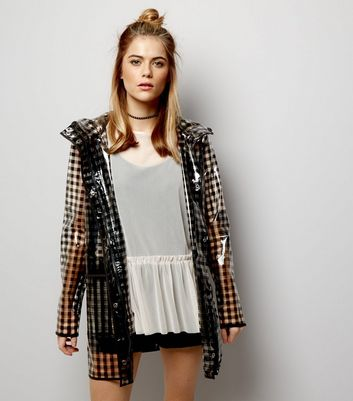 Black Gingham Check Clear Anorak