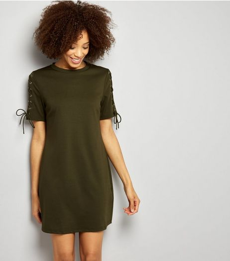 Khaki Lace Up Sleeve Tunic Dress | New Look