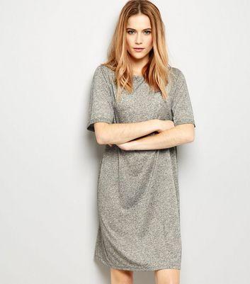 Grey Jersey Basic Short Sleeve T-Shirt Dress