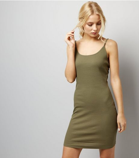 Khaki Strappy Bodycon Dress  | New Look