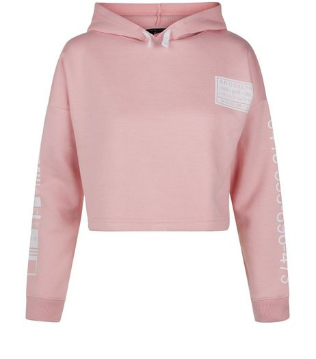 Teens Pink Brooklyn Print Cropped Hoodie | New Look