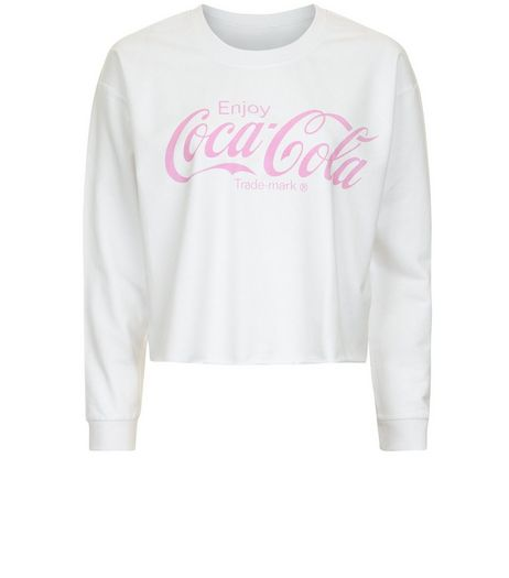 Teens White Coca Cola Print Sweater | New Look