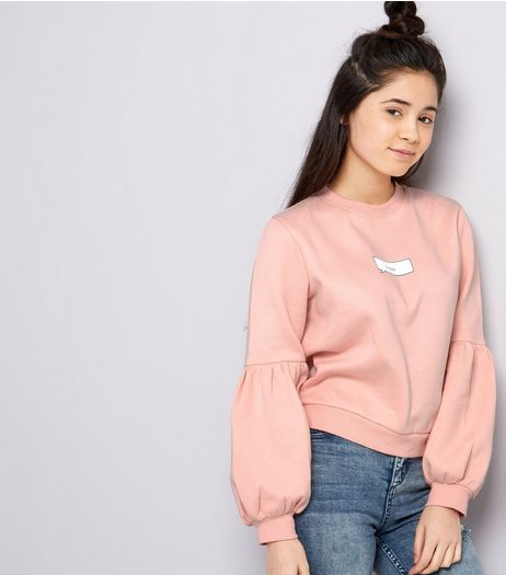 Teens Pink K Bye Balloon Sleeve Sweater | New Look