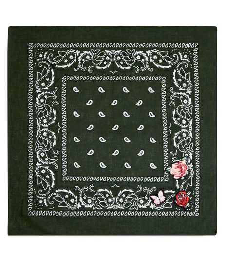 Green Floral Badge Paisley Print Bandana | New Look