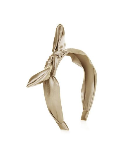 Khaki Sateen Bow Hair Band  | New Look