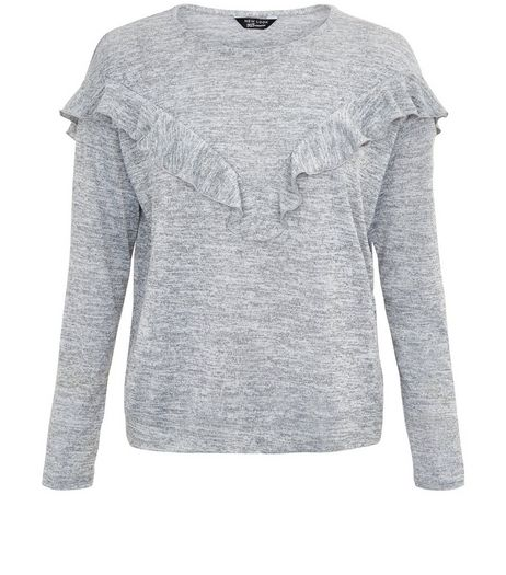 Teens Grey Fine Knit Frill Trim Jumper | New Look