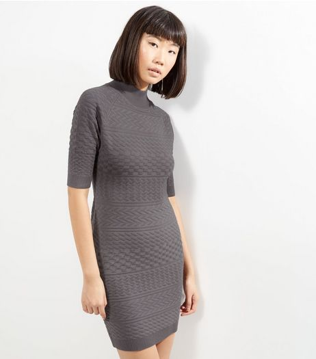 Apricot Grey Funnel Neck Bodycon Dress | New Look