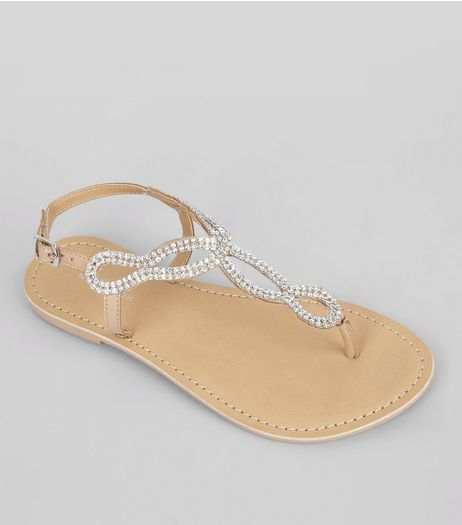 Nude Crystal Cross Strap Toe Post Sandals | New Look