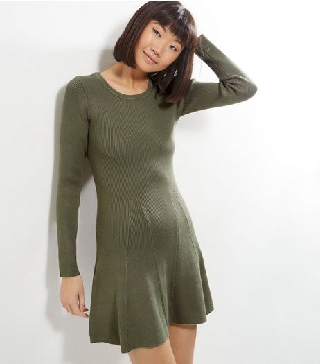 Apricot Khaki Crew Neck Ribbed Dress | New Look