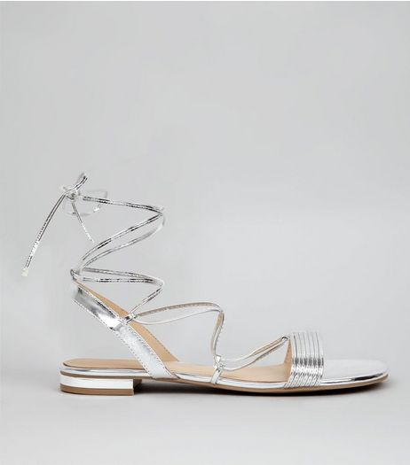 Silver Metallic Tie Up Ankle Sandals | New Look