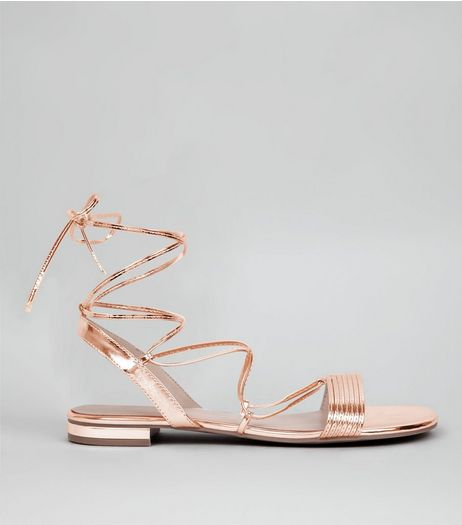 Rose Gold Metallic Tie Up Ankle Sandals | New Look
